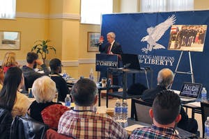 Walter Jones (Jr.) addresses a crowd during the 2015 state conference for Young Americans for Liberty. Photo by Zach Walker.