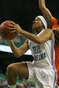 Cetera DeGraffenreid lit up the Greensboro Coliseum, tallying 11 points, dishing out eight assists and grabbing six steals en route to North Carolina's first-round ACC Tournament win.