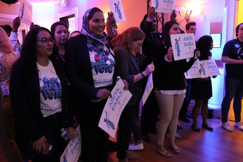 Supporters of newly elected NC Supreme Court Associate Justice Anita Earls anticipate her arrival at the election night party for the Democratic party on Tuesday, Nov. 6 at the Democratic Headquarters in Raleigh.