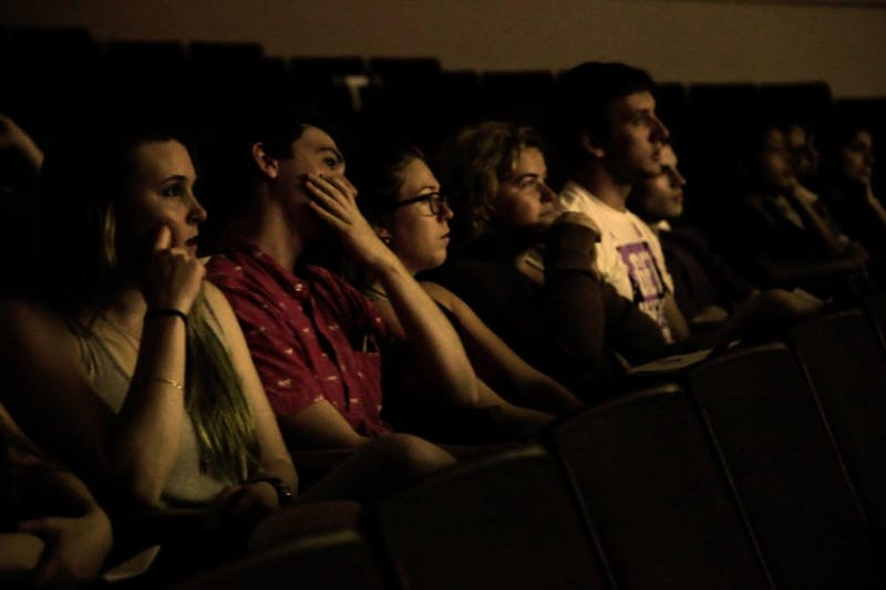 Filmgoers watching movies presented during the Swain Lot Film Festival. Photo courtesy of Nicholas Bafia