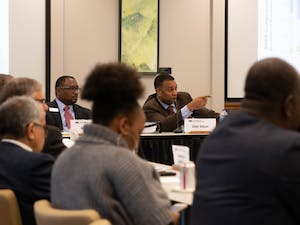 Chair Darrell Allison comments during the review of a survey which collected data on various aspects of university faculty pay, retention, and participation across the UNC system and Historically Minority-serving institutions. Thursday, Jan. 24, 2019 at the UNC Center for School Leadership Development.