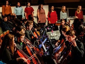The Department of Music hosted the Spectrum Concert on February 2, 2019, at Moeser Auditorium in Hill Hall on the campus of the University of North Carolina at Chapel Hill. The concert was held to celebrate the 100th birthday of the department. Photo courtesy of Johnny Andrews/UNC-Chapel Hill.