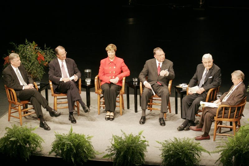 For the first time ever, all Five presidents of the UNC System gathered together on Wednesday night in Memorial Hall. From Left to Right: Thomas W. Ross, Erskine Bowles, Molly Corbett Broad, C.D. Spangler, Jr., William C. Friday, and former North Carolina Governor James. E. Holshouser, Jr.