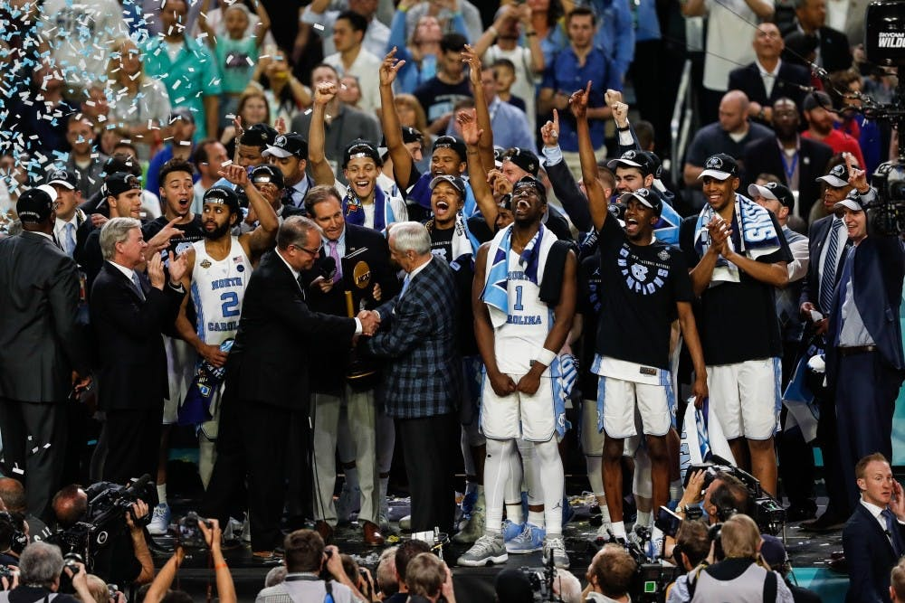 The North Carolina men's basketball team celebrates its 2017 national championship win over Gonzaga in April in Glendale, Ariz.