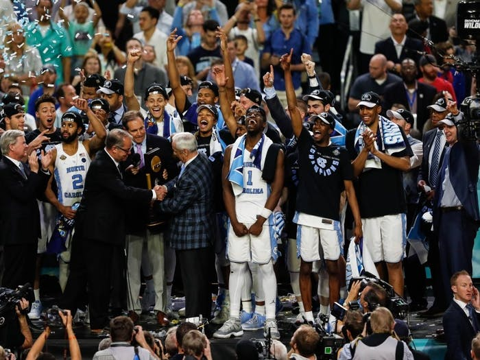 The North Carolina men's basketball team celebrates its 2017 national championship win over Gonzaga in April in Glendale, Ariz.