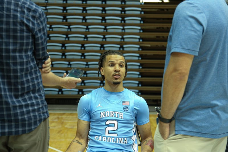 First-year guard Cole Anthony (2) speaks to the press during the UNC Men's Basketball Media Day in the Dean Smith Center on Wednesday, Oct. 2, 2019.