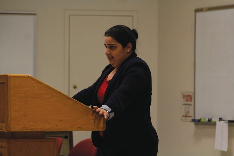 Ana Sofia Nuñez, an immigration attorney from Raleigh, discusses House Bill 63 and immigrants' rights on Wednesday during a panel on the topic of undocumented immigrants.