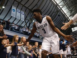 Butler first-year Kamar Baldwin (3) celebrates withfans. North Carolina will face Butler in the third round of the NCAA tournament on Friday evening.Photo courtesy Jimmy Lafakis.