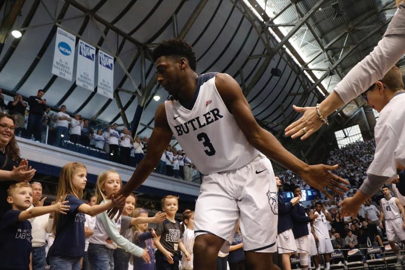 Butler first-year Kamar Baldwin (3) celebrates with fans. North Carolina will face Butler in the third round of the NCAA tournament on Friday evening. Photo courtesy Jimmy Lafakis.