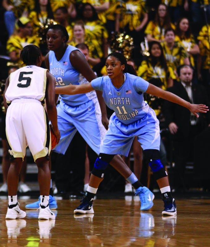 UNC freshman guard Brittany Rountree led all players in scoring Thursday with 21 points from seven 3-pointers. Rountree shot 70 percent from long range during her 22 minutes in the game.