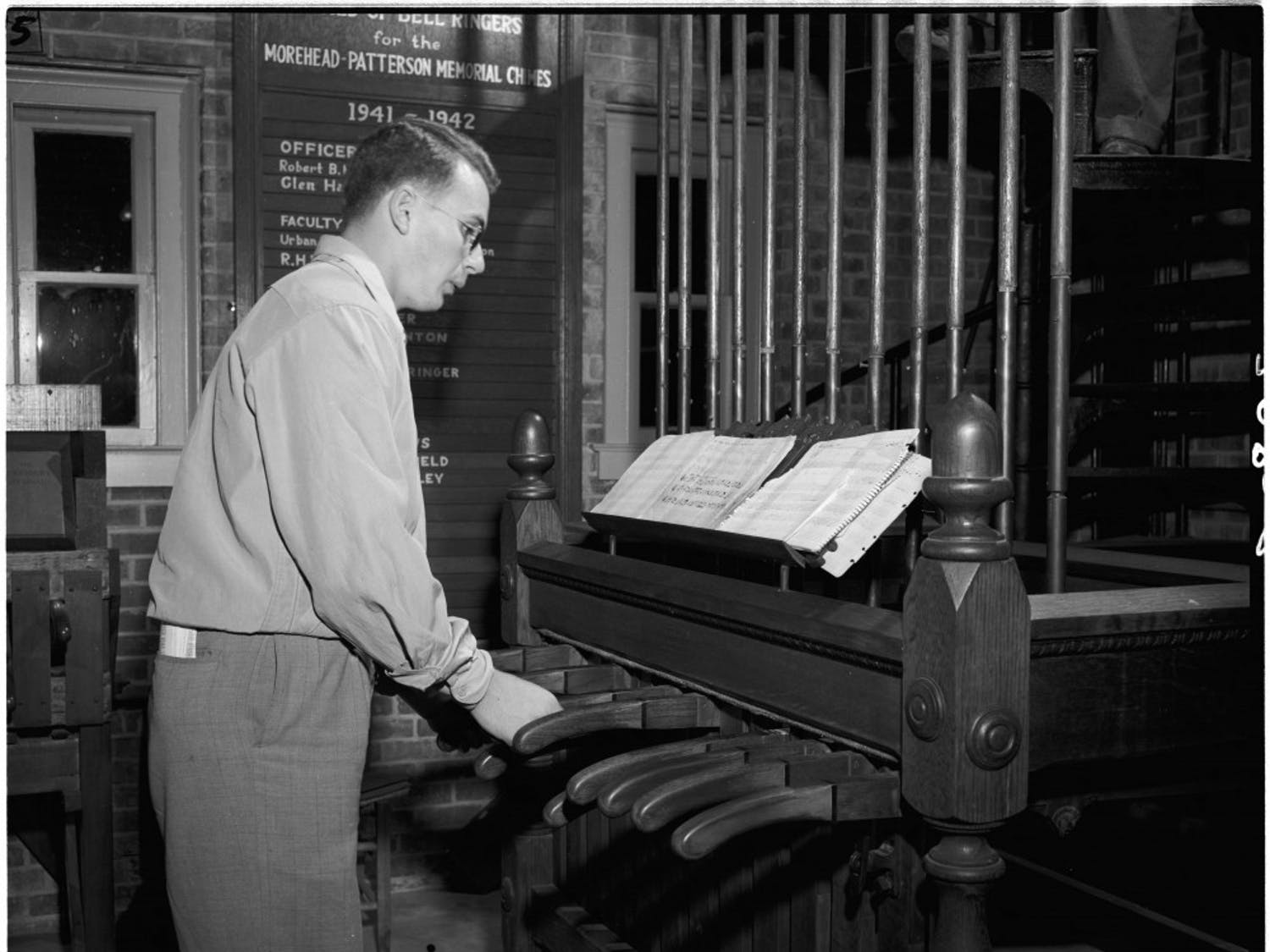 Ringing the bell tower used to require a series of levers. Now, it's as simple as pressing buttons. Courtesy of Nicholas Graham and University Archives.