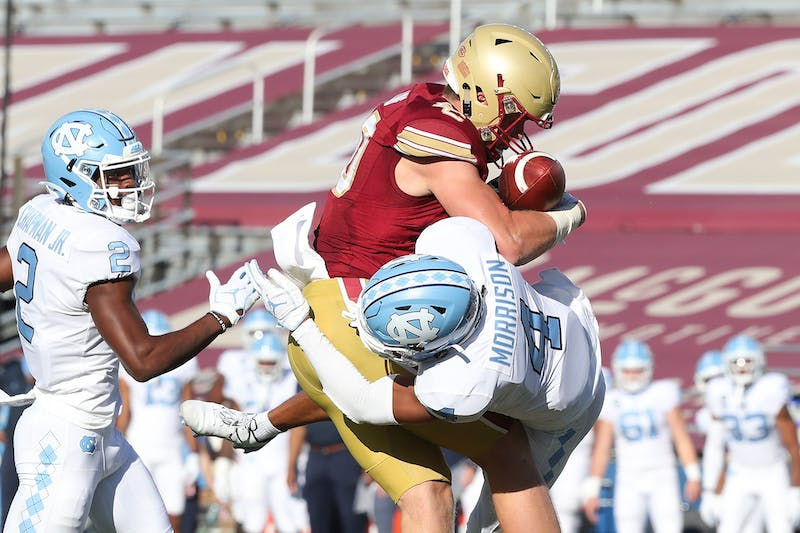 UNC junior defensive back Trey Morrison (4) attempts to block an offensive play during a game against Boston College on Saturday, Oct. 3, 2020. UNC beat Boston College 26-22. Photo courtesy of ACC Media.