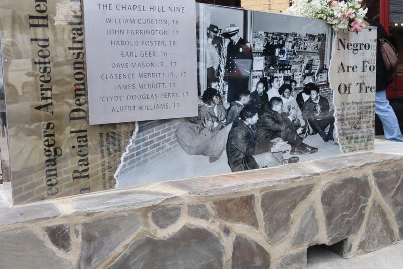 The marker to the Chapel Hill Nine depicts the demonstrators on one side, along with their names and ages. The marker was dedicated on Friday, Feb. 28, 2020.