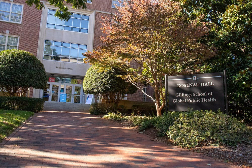 <p>The Gillings School of Global Public Health as pictured on Tuesday, Nov. 3, 2020.</p>