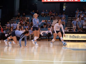 UNC volleyball players react in frustration after losing a point in a 3-1 defeat against Michigan State on Sept. 1 in Chapel Hill.