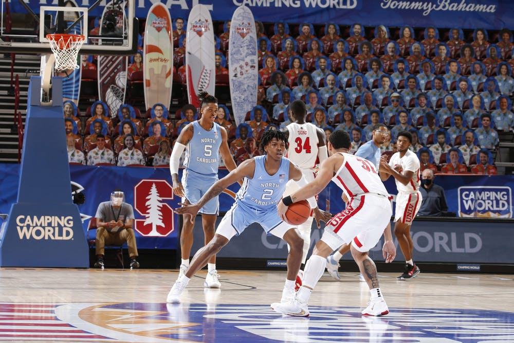 <p>UNC's men's basketball team faced off against UNLV in the first round of the Maui Invitational Tournament in Asheville, N.C. UNC beat UNLV 78-51. Photo courtesy of Brian Spurlock/Camping World Maui Invitational.&nbsp;</p>
