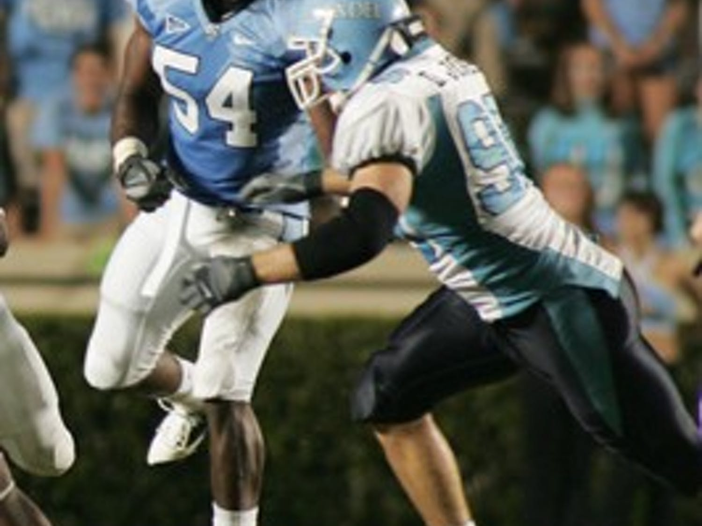 Junior linebacker Bruce Carter blocked three punts when North Carolina played Connecticut in 2008.