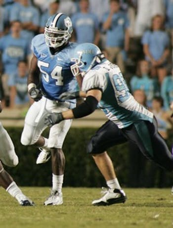 Junior linebacker Bruce Carter blocked three punts when North Carolina played Connecticut in 2008.