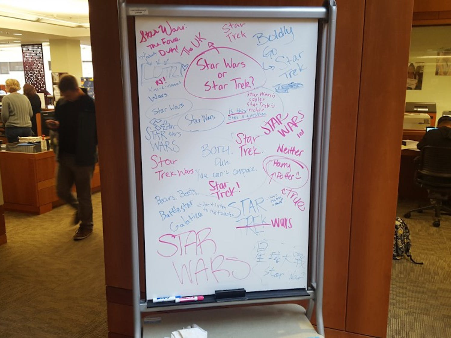 The Undergraduate Library's whiteboard was having a less popular day Tuesday.