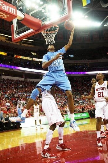 UNC sophomore forward John Henson goes hard to the basket in Wednesday night's 75-63 win at N.C. State. Henson influenced the game with 15 rebounds and six blocks, both more than any other player.