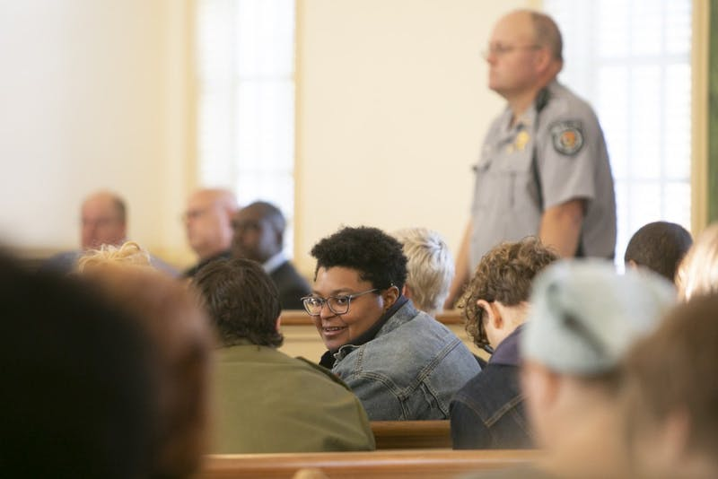 In a crowded Orange County courthouse Maya Little waits for hearing her on Monday, Oct. 15, 2018, in Hillsborough, N.C.