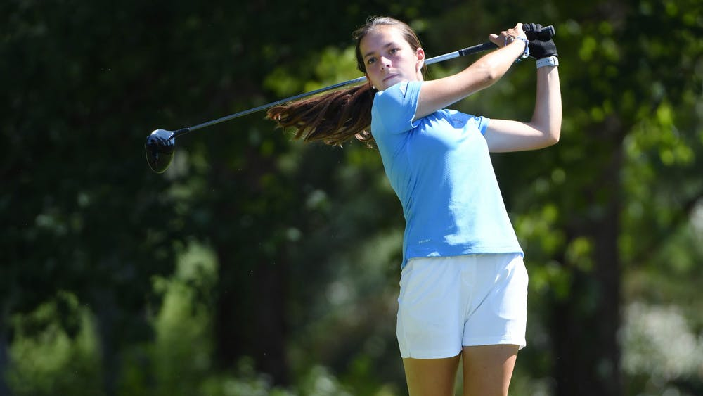 First year Natalia Aseguinolaza completes a swing during a practice round at Finley Golf Course on Friday, September 4, 2020. Photo courtesy of Jeffrey Camarati for UNC Athletic Communications.