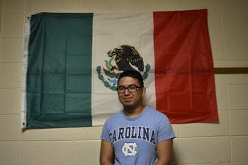 Sam Gomez Olivera honors his Mexican culture by displaying a Mexican flag in his dorm.