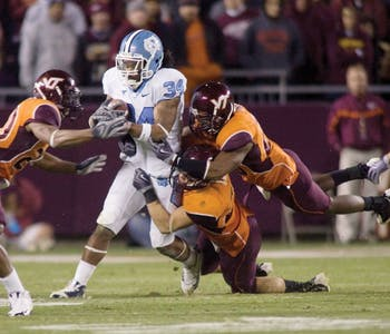 UNC will have to fare without senior tailback Johnny White this year against Virginia Tech after breaking his clavicle against Florida State.