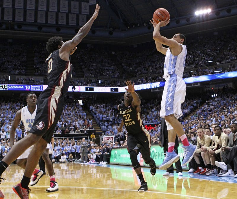UNC junior forward Marcus Paige (5) takes a jump shot.