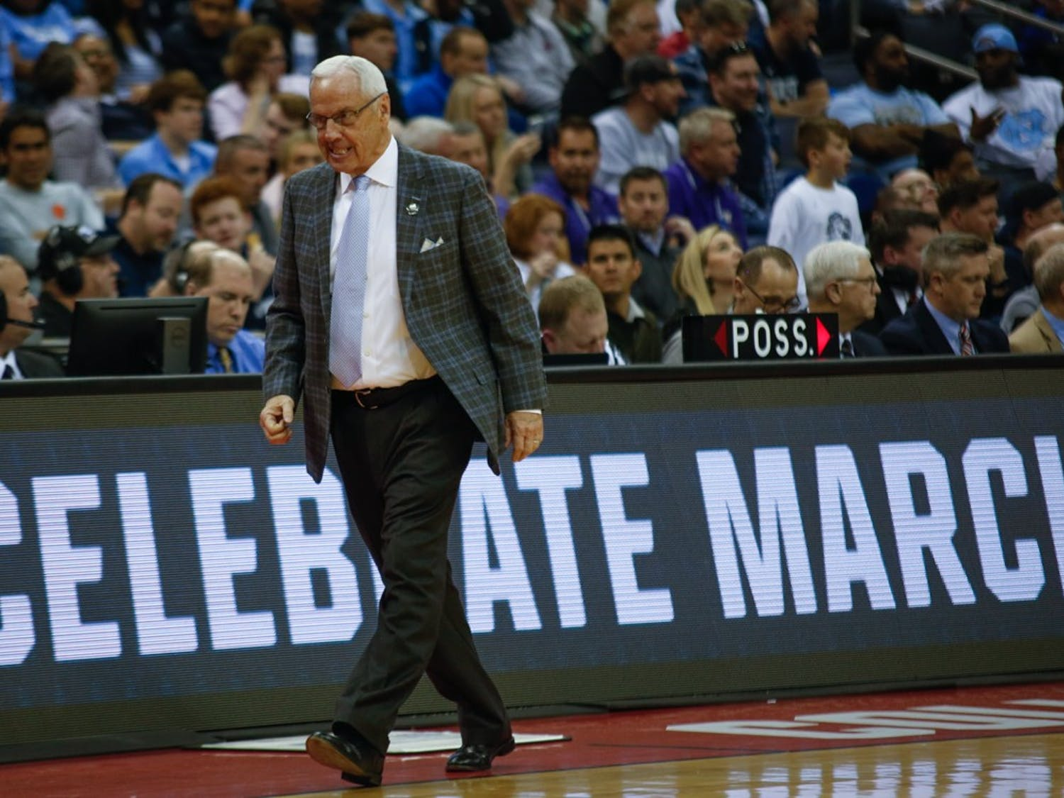 UNC coach Roy Williams storms down the court while UNC was down 5 points against 16-seed Iona in the first round of the NCAA Championship at Nationwide Arena in Columbus, Ohio on Friday, March 22, 2019. UNC won 88-73.