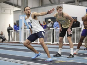 Isaiah Palmer, a sophomore sprinter for UNC, prepares to run during the Men 4x400 Relay in the Dick Taylor Carolina Cup at Eddie Smith Field House on Sat., January 13, 2019. The Tar Heels won the relay with a time of 3:16.88.