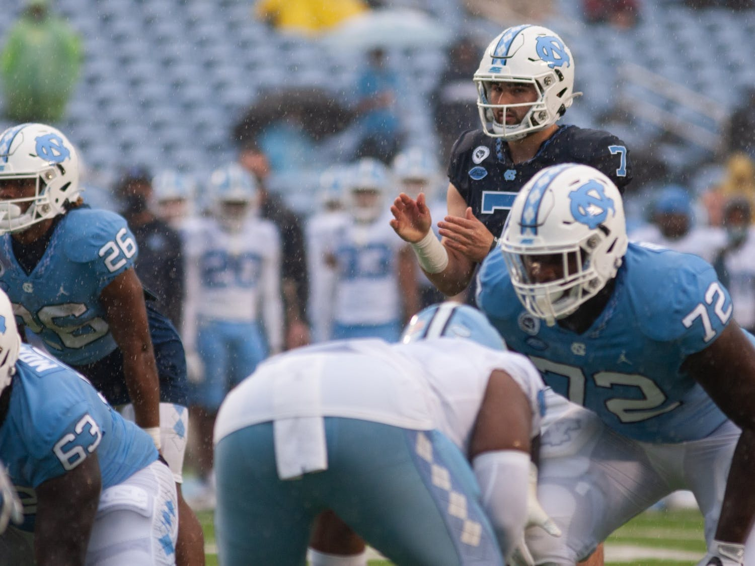 UNC junior quarterback Sam Howell (7) awaits a snap during Carolina's rainy spring game on April 24th in Kenan Stadium.