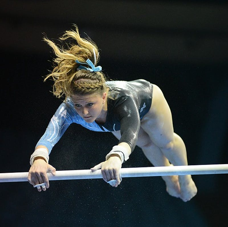 Elizabeth Durkac, pictured here on the uneven parallel bars, has been UNC's most consistent performer in all-around competition.