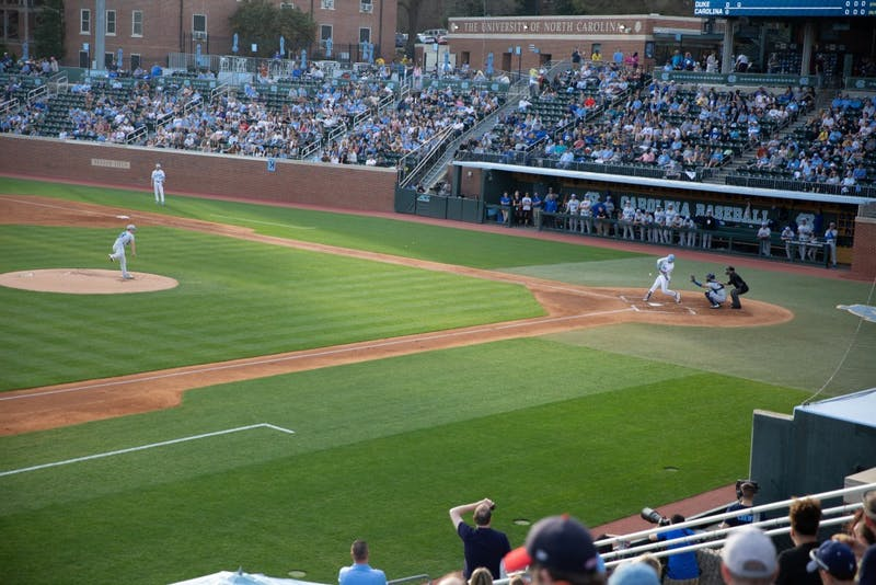 First-year shortstop/second baseman Danny Serretti (1) swings against Duke on Friday, March 29, 2019 at Boshamer Stadium. UNC defeated Duke 1-0.