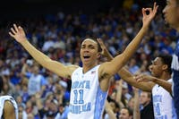 Brice Johnson (11) reacts after a 3-point basket late in the 2nd half.