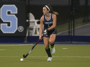 UNC junior forward Erin Matson (1) drives the ball up the field against Syracuse on Oct. 16, 2020 in the Karen Shelton Stadium in Chapel Hill, N.C. Matson scored the only goal of the game, letting UNC beat Syracuse 1-0.