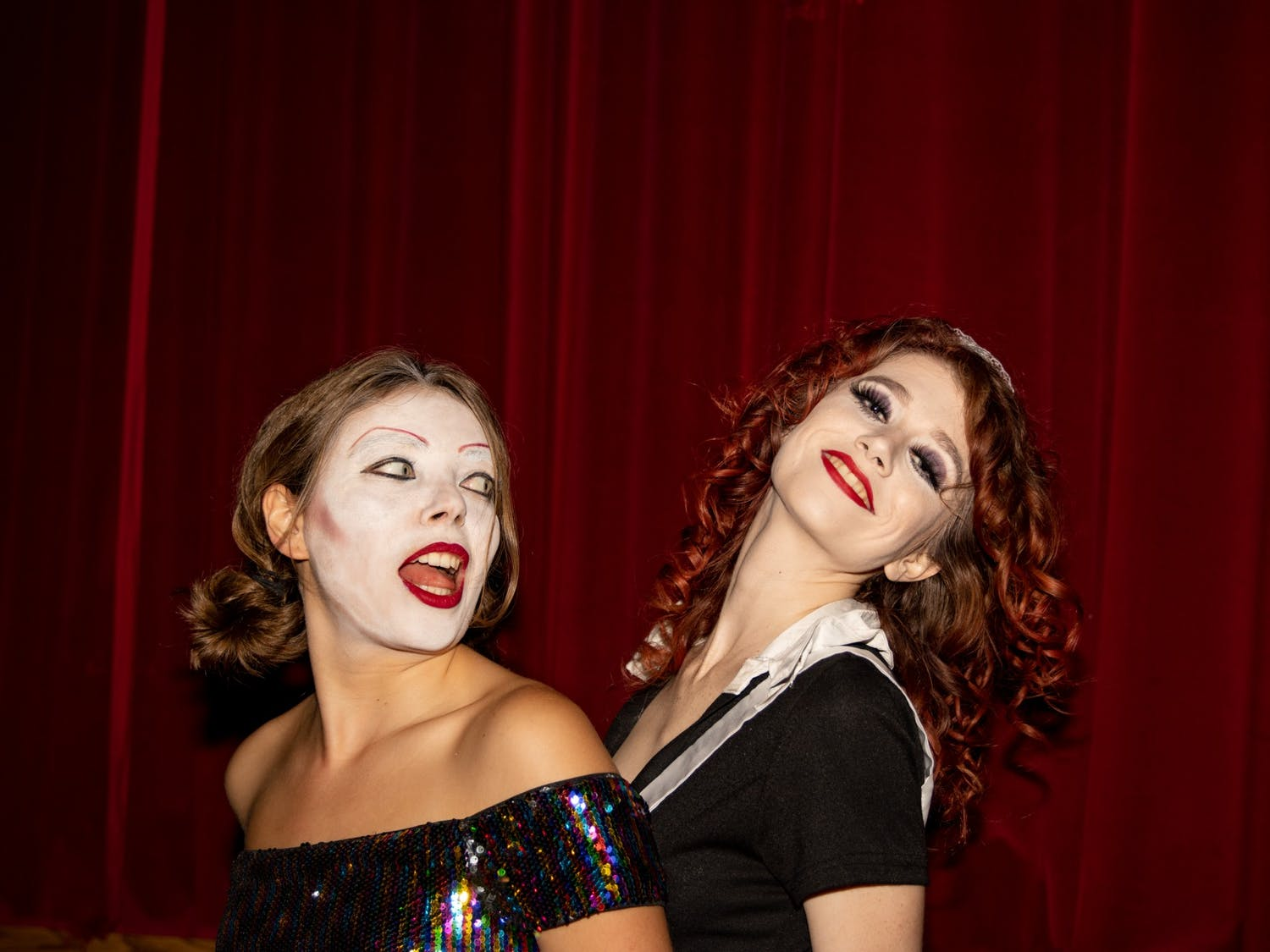 UNC junior Angelina Katsanis and senior Grace Sword prepare to portray Columbia and Magenta, respectively, before a technical rehearsal of the Rocky Horror Picture Show on Oct. 26 at the Varsity Theatre. The production is an annual tradition of the UNC Pauper Players.