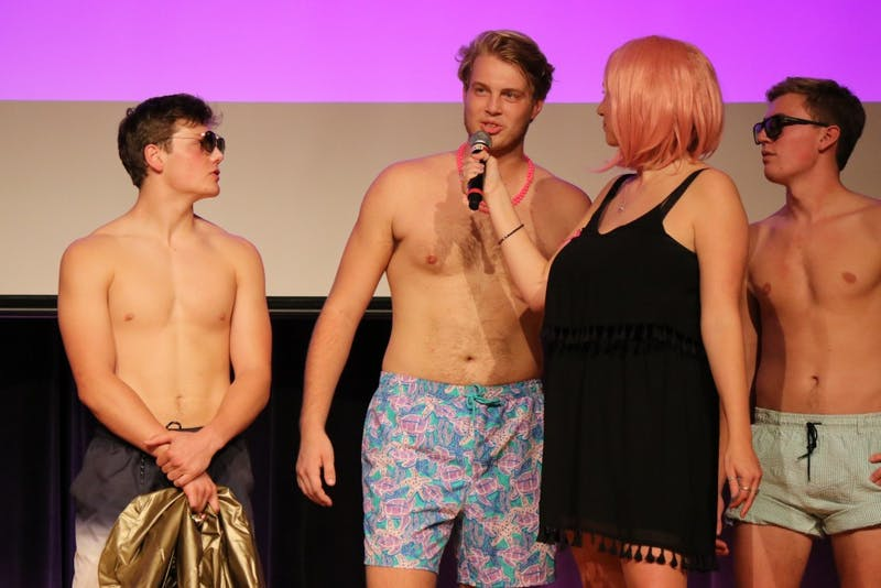 Will Sargeant answering a question during the swimsuit round of Big Man on Campus. Contributed by Zeta Tau Alpha.