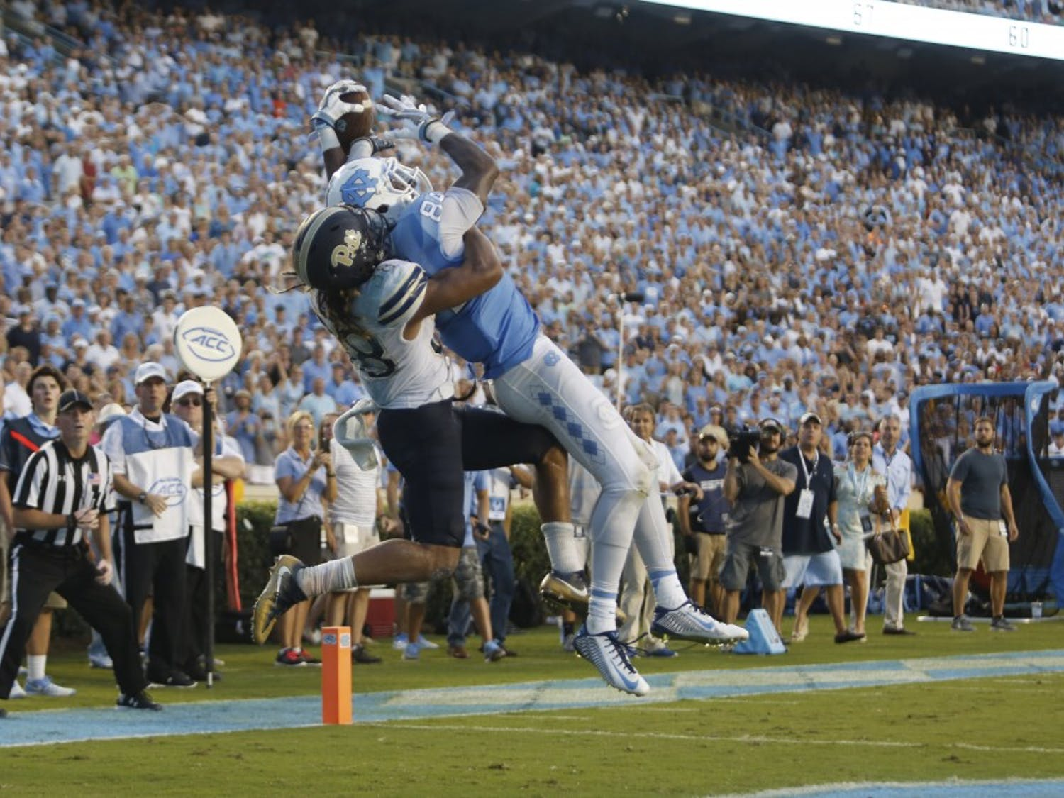 The UNC football team defeated Pitt 37-36 off a touchdown with two seconds remaining on Saturday.