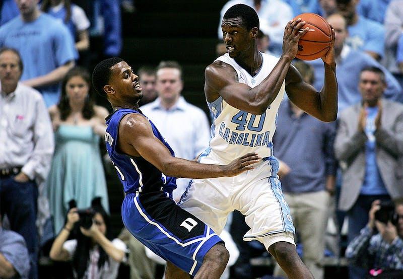 UNC guard Harrison Barnes draws a foul.