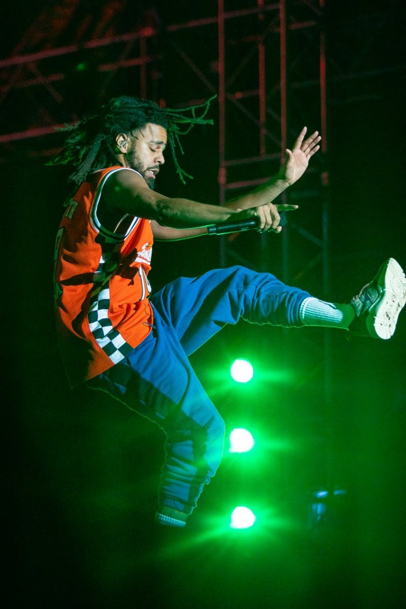 J. Cole performs his headlining set at Dreamville Fest at Dorothea Dix Park on Saturday, April 6, 2019 in Raleigh, N.C. In its inaugural event, 40,000 people attended Dreamville after it was postponed in the fall of 2018 because of Hurricane Florence.