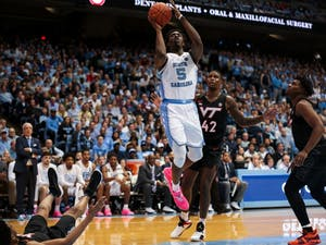 Forward Nassir Little (5) shoots the ball during the men's basketball game vs. Virginia Tech at the Smith Center on Monday, Jan. 21, 2019. The Tar Heels won 103-82.