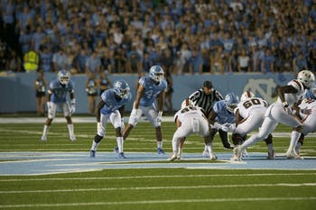 Defensive back D.J. Ford (16) and linebacker Jeremiah Gemmel (44) await on the side of a play at the UNC vs. Miami game on Sept. 7, 2019. UNC beat Miami, 28-25.