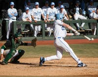 UNC senior outfielder Jackson Hesterlee (26) bats for the Tar Heels against South Florida Sunday, Feb. 24, 2019 at Boshamer Stadium.