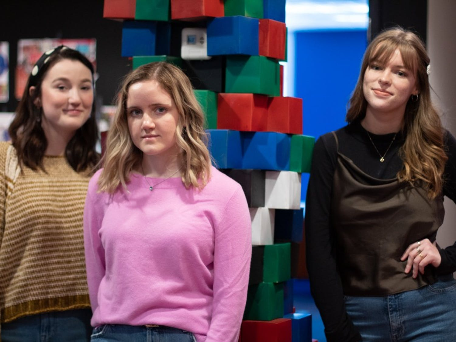 (From left) Emma Spears, copyediting director; Carly Christensen, health editor; and Chloe Williams, features co-editor for Coulture pose in the Coulture office on Sunday, Feb. 9, 2020.