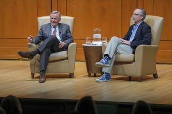John Grisham onstage with Daniel Wallace for a discussion following the 2019 Eve Marie Carson Lecture. Photos by Jeyhoun Allebaugh, Courtesy UNC-Chapel Hill.