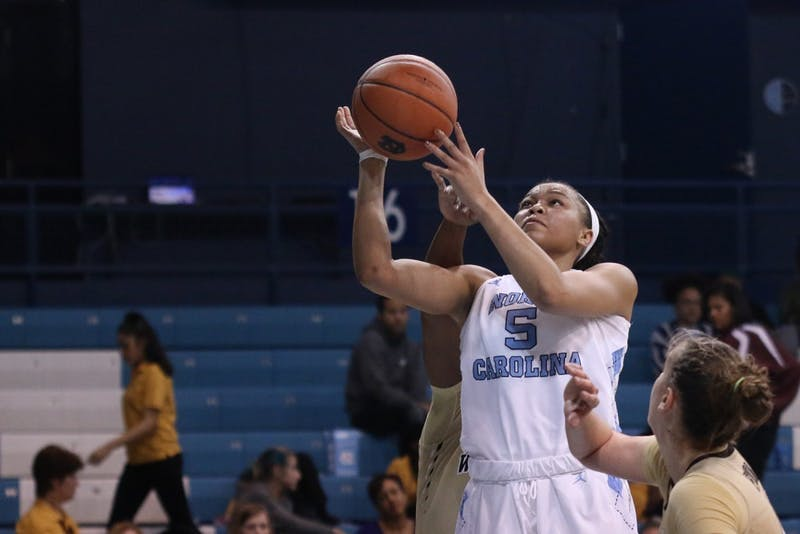 Forward Stephanie Watts (5) goes upfor a layup at the Wake Forest game on Thursday.