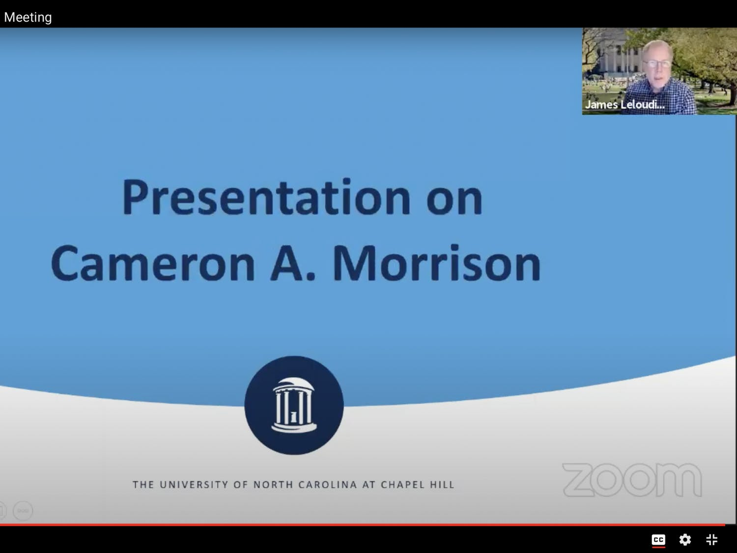 A screenshot taken from the Commission on History Race, and a Way Forward on Monday, Nov. 7, 2020 to discuss updates on the Barbee Cemetery Project and removing the name  of Morrison Residence Hall.