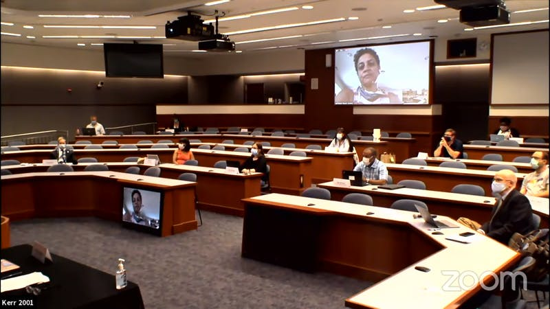 Screenshot from the virtually Faculty Committee Meeting on Friday, June 19, 2020 to discuss the Carolina Roadmap.