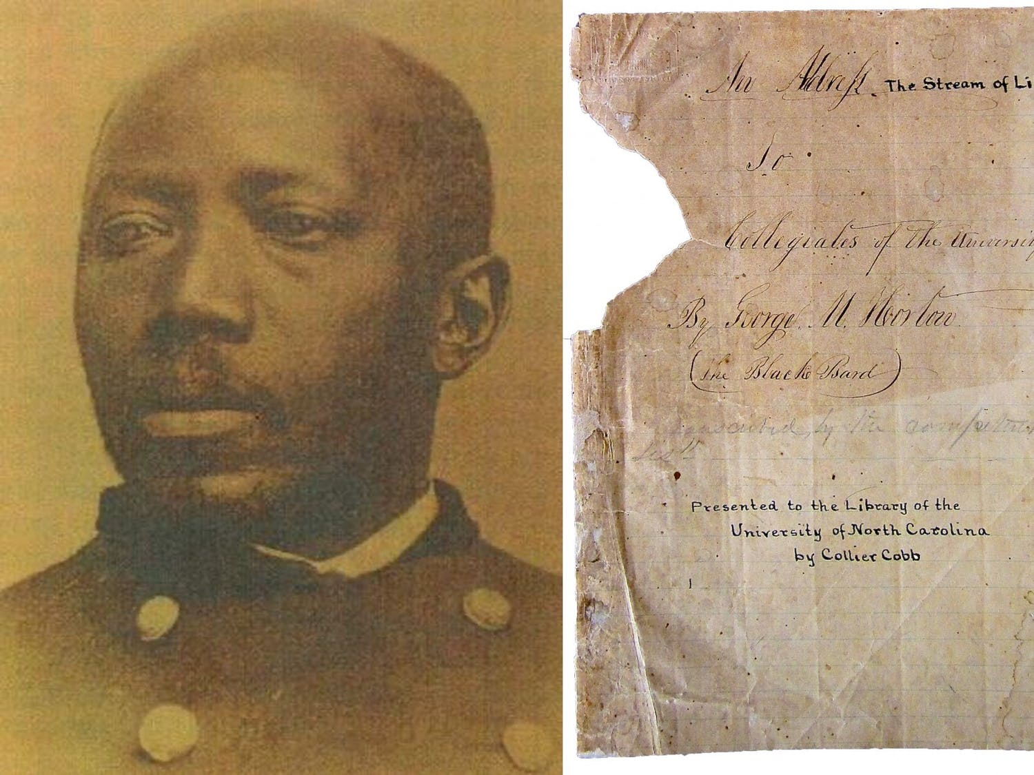 A photo of Martin Delany that is commonly mistaken to be George Moses Horton (left) and the cover page of the lecture Horton gave at one of UNC's commencements (right). Photos courtesy of Wilson Library Collections.